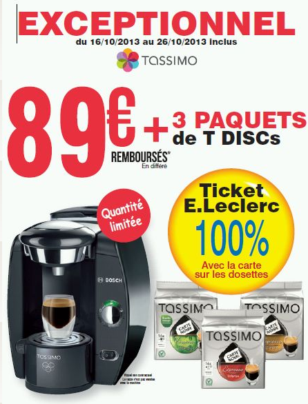 cafetiere tassimo a leclerc