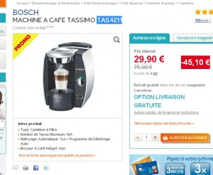 cafetiere tassimo bosch carrefour